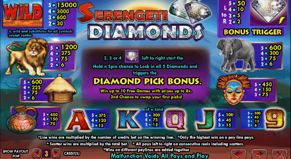 play Serengeti Diamonds game online free bonus