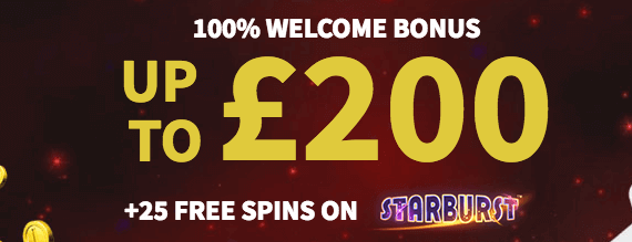 100% welcome bonus promotion up to £/$/€200 + 25 free spins on Starburst online slot machine Gamblio Casino